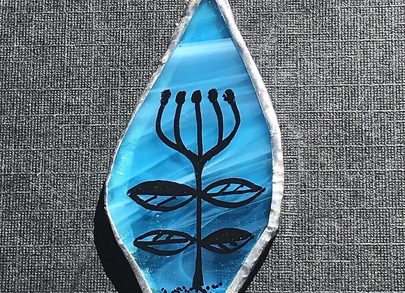 Tulip Blue Glass Pendant