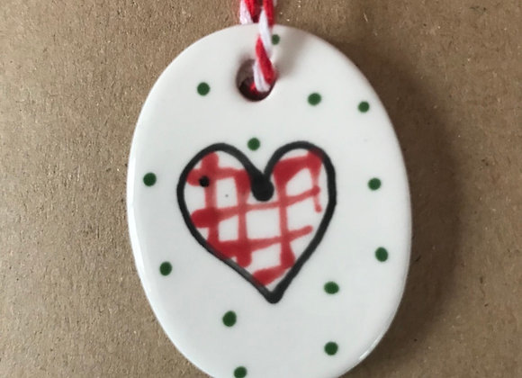 Ceramic Tag Greetings Card with Gingham Heart pack of 3