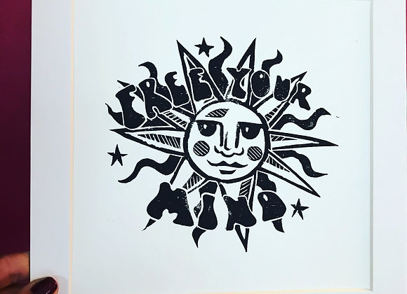 "Lino Cut ""Free Your Mind"""