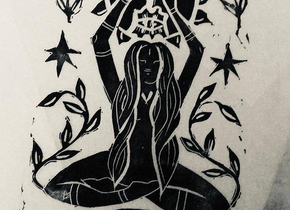 Linocut of  Seated Goddess