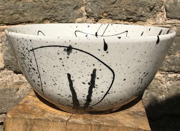 Graffiti black splatterware deep bowl