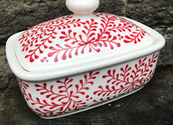 Mulberry Red Curvy Butter Dish