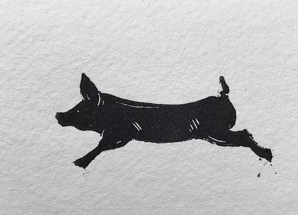 Pig Lino Cut set of 3 cards