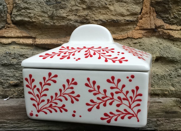Mulberry Red Straight Sided Butter Dish