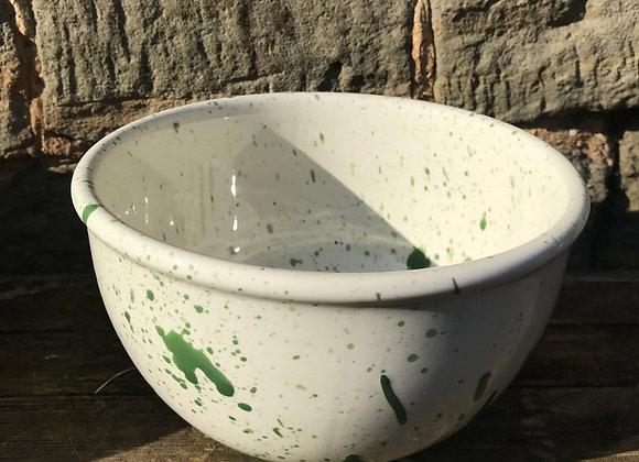 Green Large mixing bowl splatter