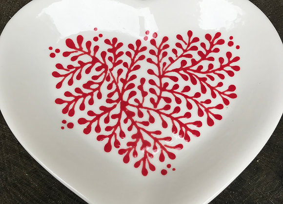 Mulberry Red Heart Plate Small