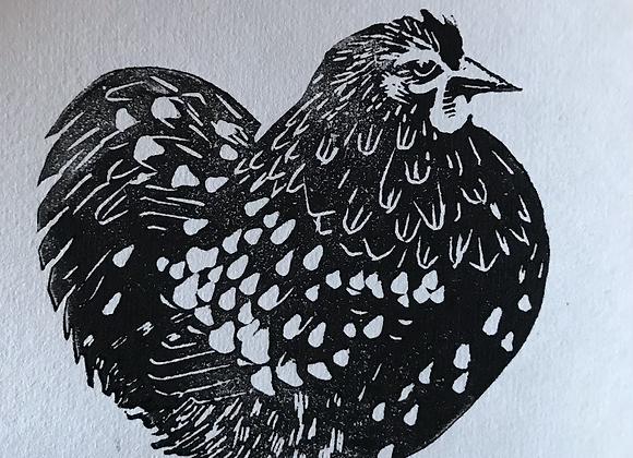 Lino Cut Mottled Pekin Hen