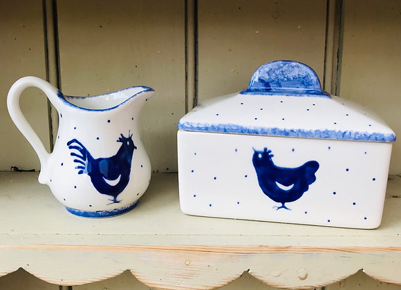 Blue hen butter dish square
