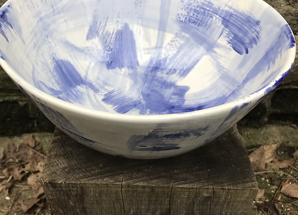 Blue Strokes Serving Bowl