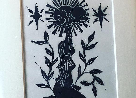 Linocut  Sun Goddess