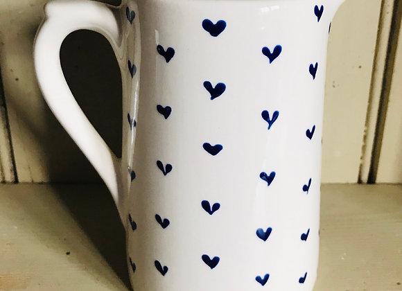 Blue hearts large farmhouse jug
