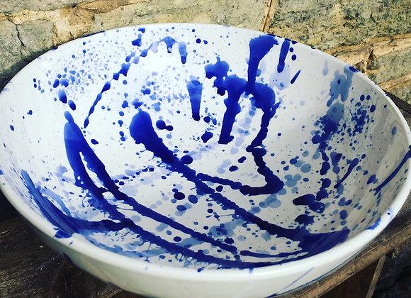 Splatterware Blue serving bowl