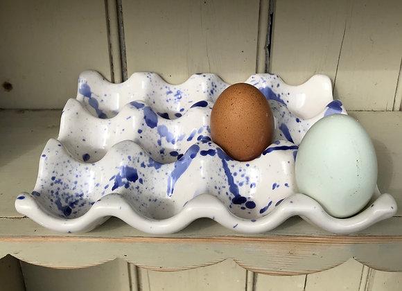 Blue splatterware 12 egg tray