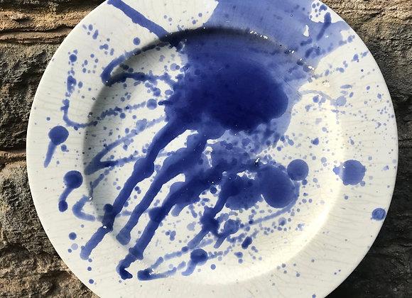 Splatterware Blue Dinner Plate