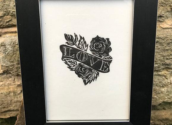 Framed Lino Cut Rose Love Heart