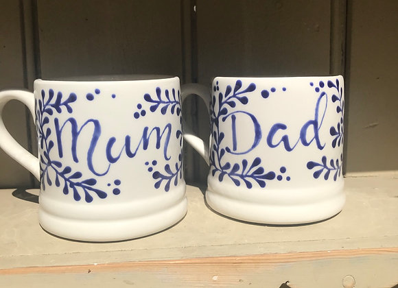 Mulberry blue regular mugwith lettering