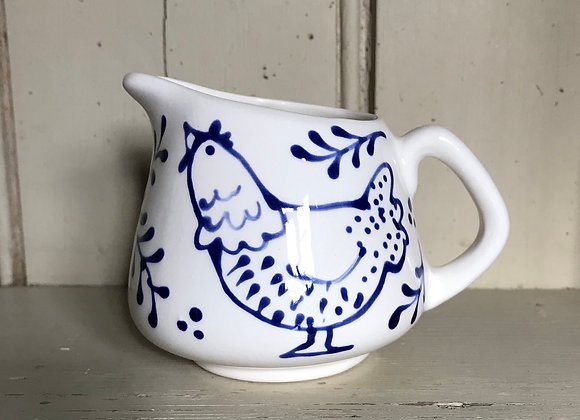 Bloomsbury hen Mini milk jug blue