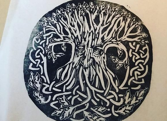 Linocut  Green Man Tree