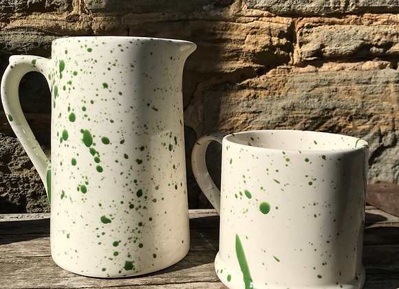 Green large farmhouse jug splatter