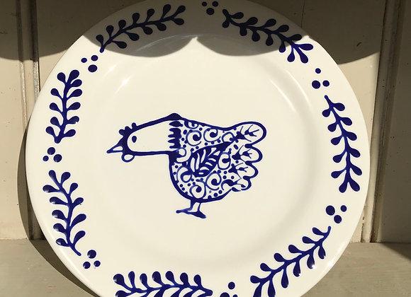 Bloomsbury hen side plate blue