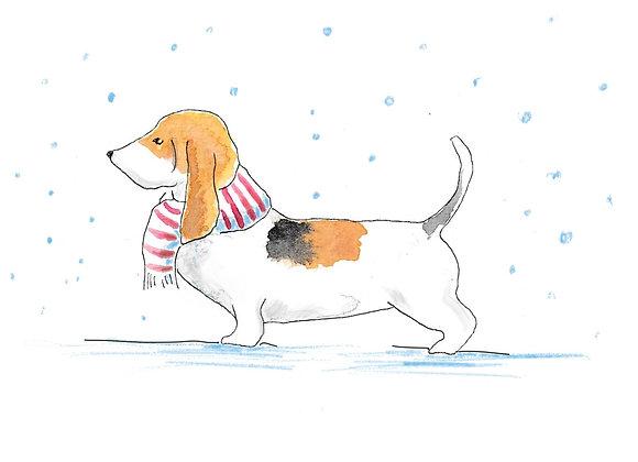 Basset Hound Christmas Cards set of 6