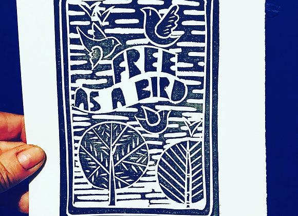 "Lino Cut ""Free as A Bird"""
