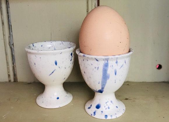Splatterware eggs cups in blue