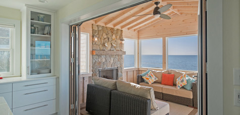 First Encounter Beach, Eastham MA New Home Construction, Four Season Room with Fireplace