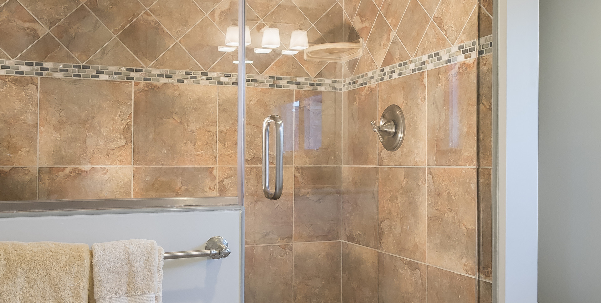 Ridgevale Beach, West Chatham, MA, Home Remodel, brown tiled shower