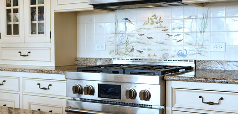 Ridgevale Beach, West Chatham, MA, Home Remodel, Cape Cod Kitchen, Oven with tile mosiac