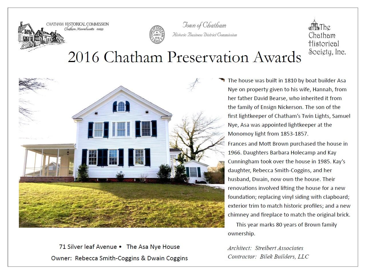 Old Village, Chatham,MA Historic Preservation Remodel Award