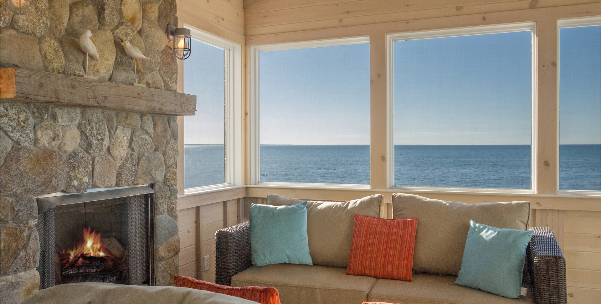 First Encounter Beach, Eastham MA New Home Construction with four season room with fireplace