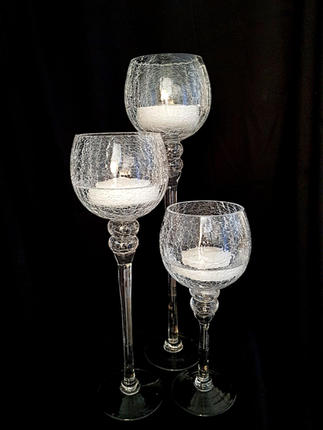 Crackle Glass Floating Candle Holders