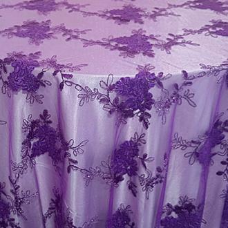 Purple Ribbon Mesh Lace Overlay