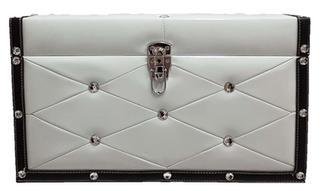White & Black Leather Treasure Chet Card Box