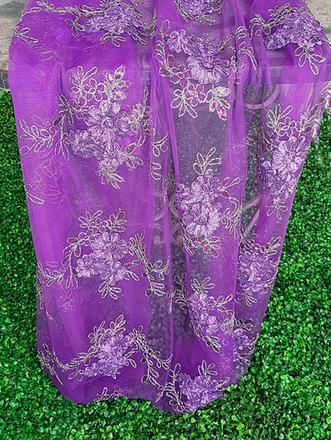 Purple Ribbon Mesh Lace