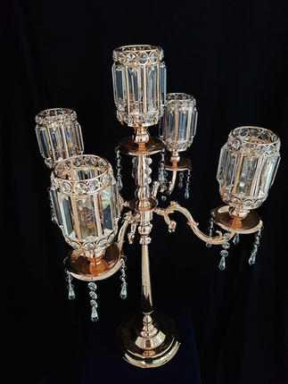 5 Arm Gold and Crystal Candelabra