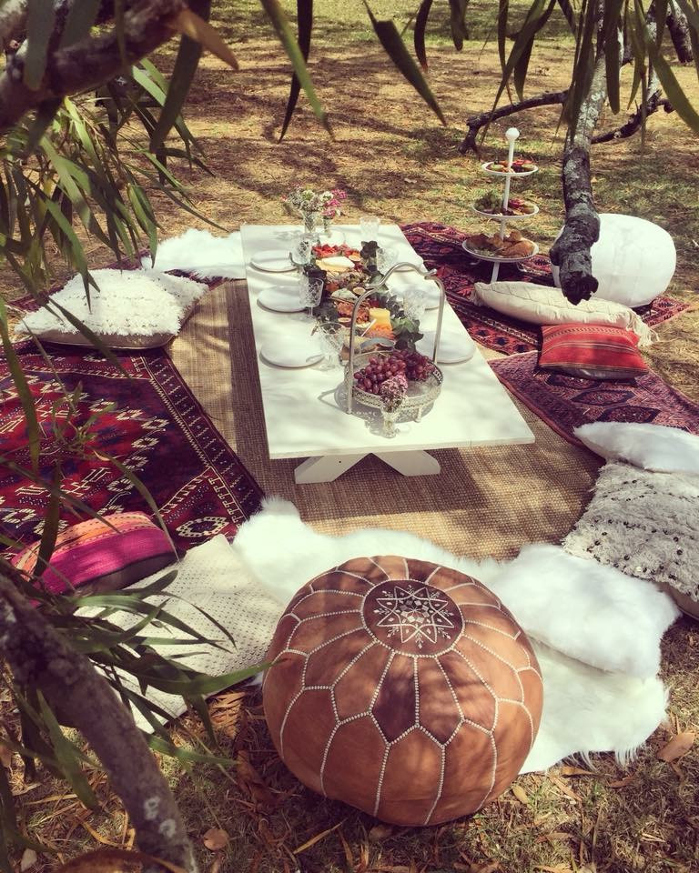 moroccan pouf, blessingway, boho, boho picnic, baby shower, grazing table