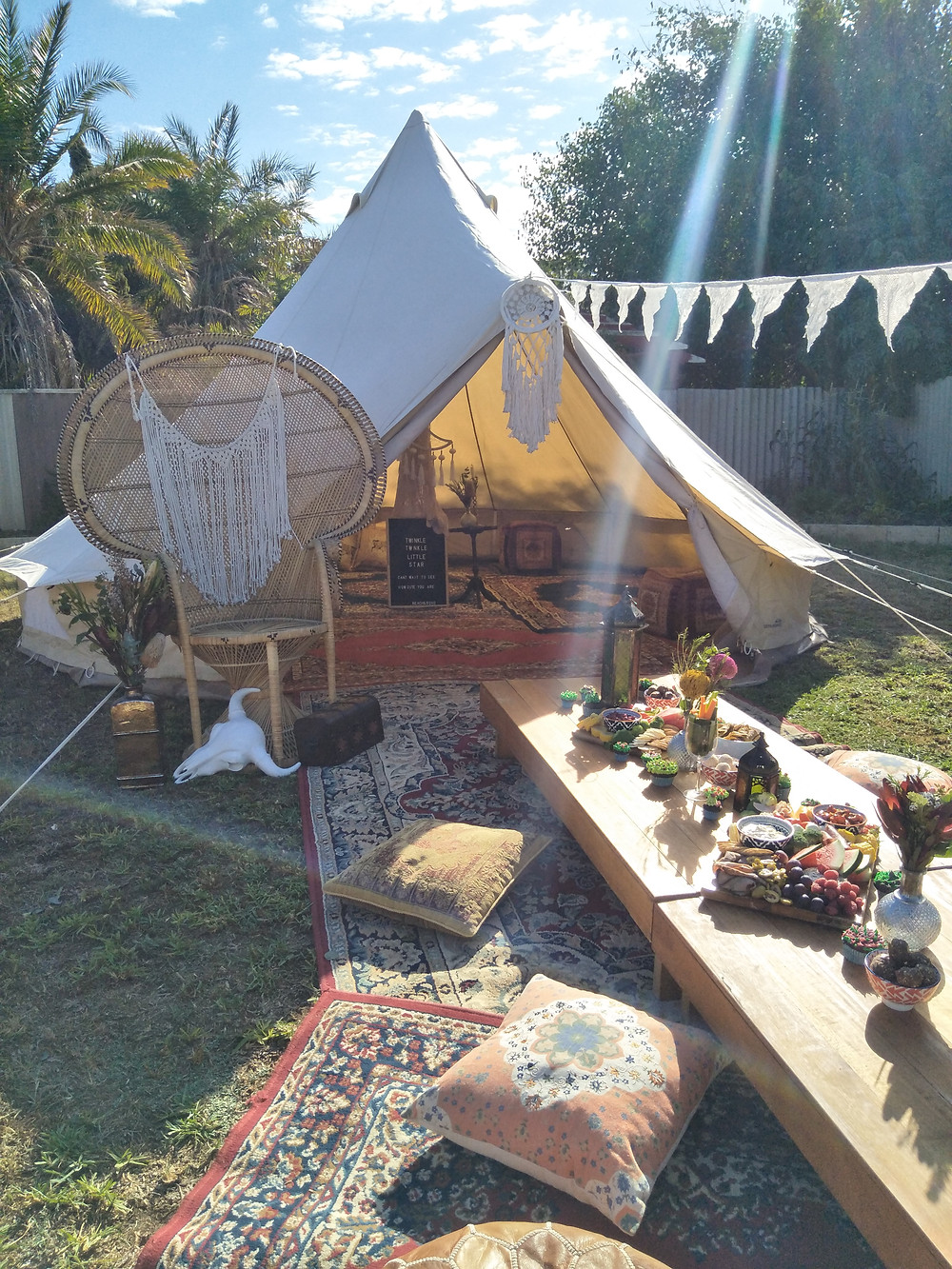 bell tent, baby shower, blessingway, boho, boho picnic, event hire, peacock chair