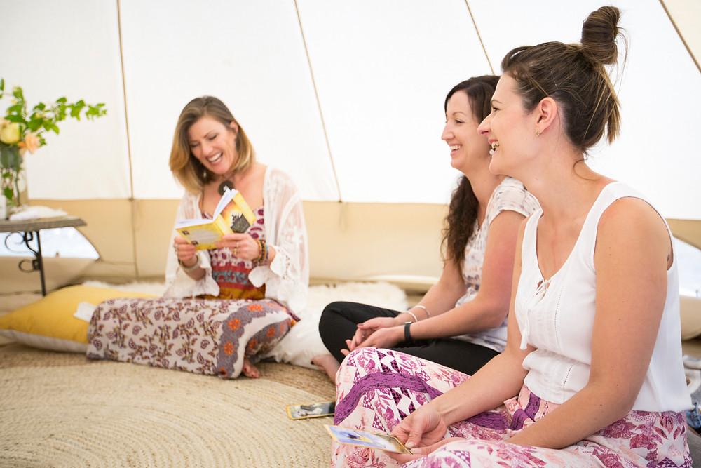 Blessingway, bell tent, chakras, tarot