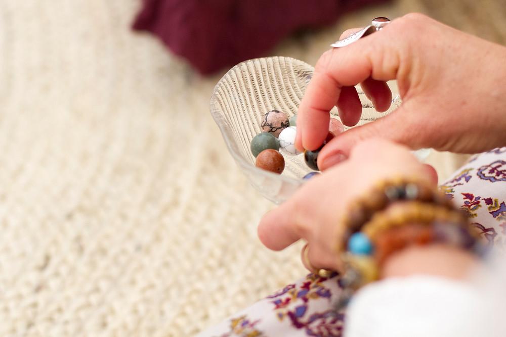 semi-precious stones, beads, bead ceremony, blessingway, birthing necklace
