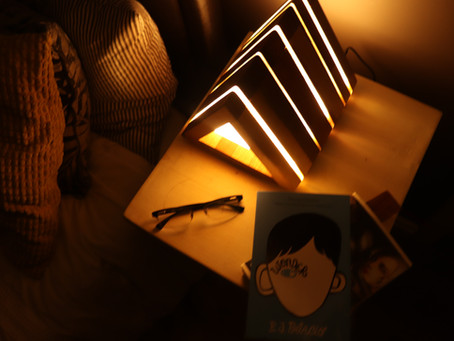 Bedside table lamp and book stand