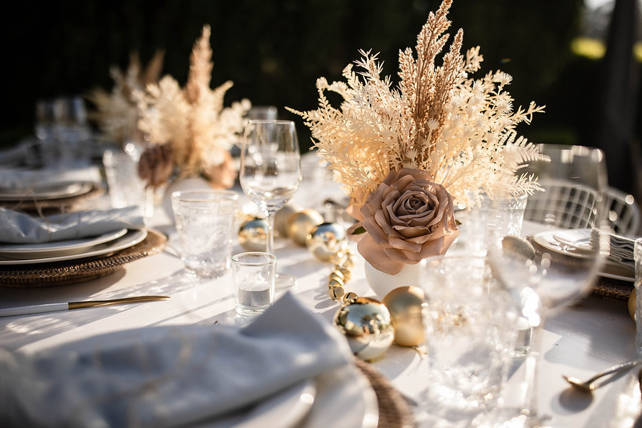 Modern boho christmas dinner party with nude palette