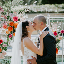 Modern Wedding First Kiss