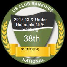 US Club Rankings 2017 18 & Under Nationals NPS Ranking 38th