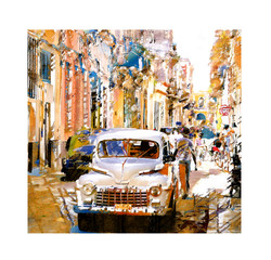 OLD CARS AND NARROW STREETS - H A V A N A