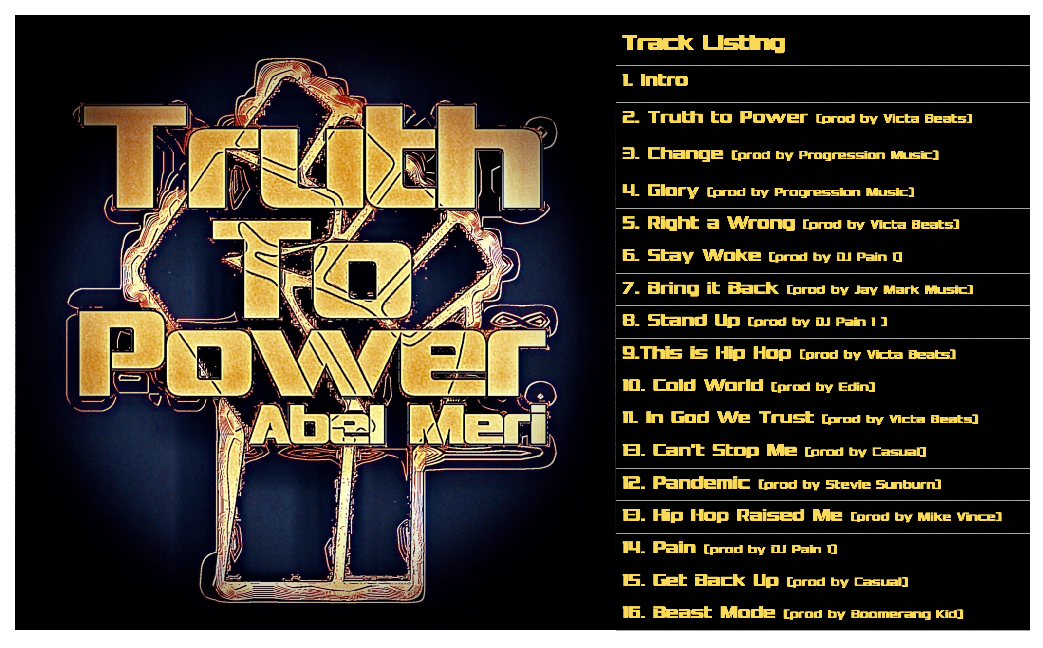 Abel Meri Truth to Power Track Listing