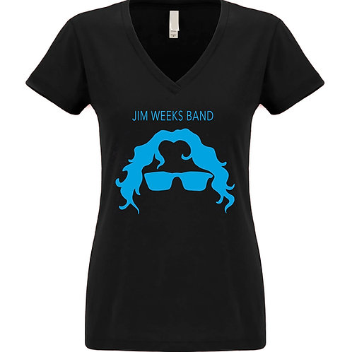 Womens Black Deep V Neck T Shirt