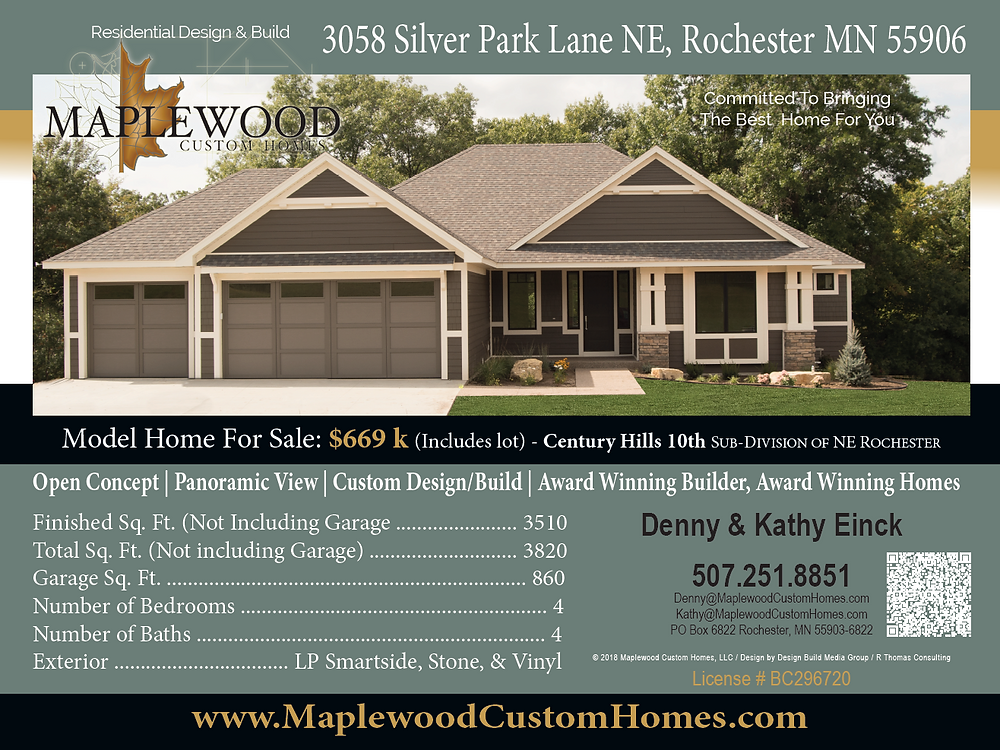 Builder Direct Model Home by Maplewood Custom Homes at 3058 Silver Park Lane NE, Rochester MN 55906 pick your finished now