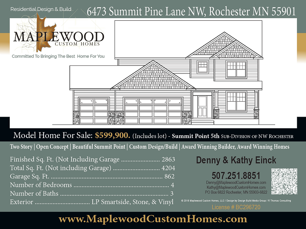Maplewood Custom Home Builder Direct home available at 6473 Cummit Pine Lane NW, Rochester MN 55901